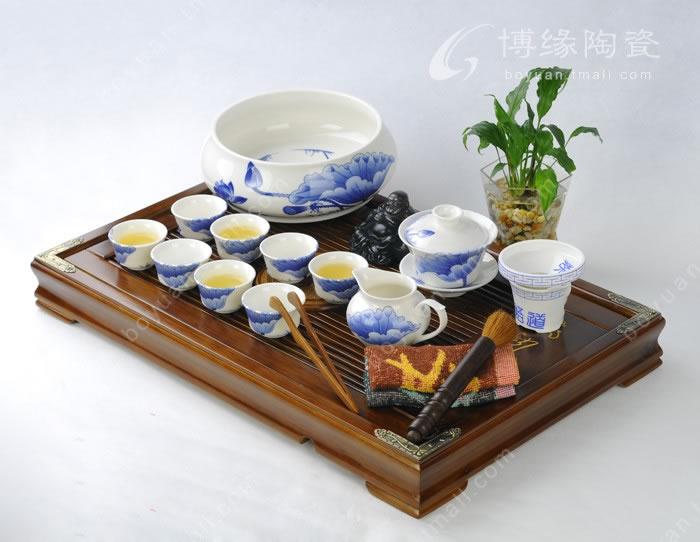 荷塘春色茶具实木茶盘