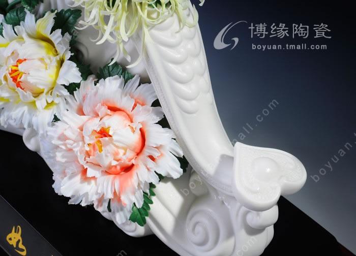 祥和如意 德化白瓷花卉艺术传统如意雕塑家居办公