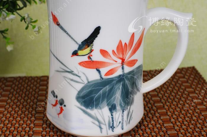 博缘 陶瓷杯子 个人套杯 带盖水杯 五彩莲花 手绘荷花