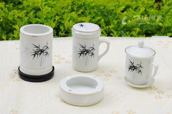 陶瓷杯子  礼品套组 墨竹五件套