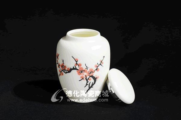 手绘梅花茶叶罐
