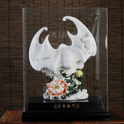 富贵临门 家居陶瓷装饰品 商务开业礼品 动物摆件 陶瓷花卉 客厅办公