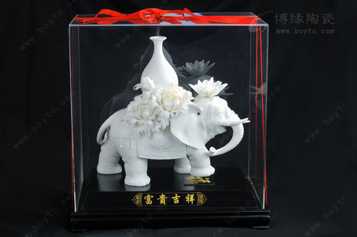 德化白瓷动物大象花卉雕塑家居办公工艺