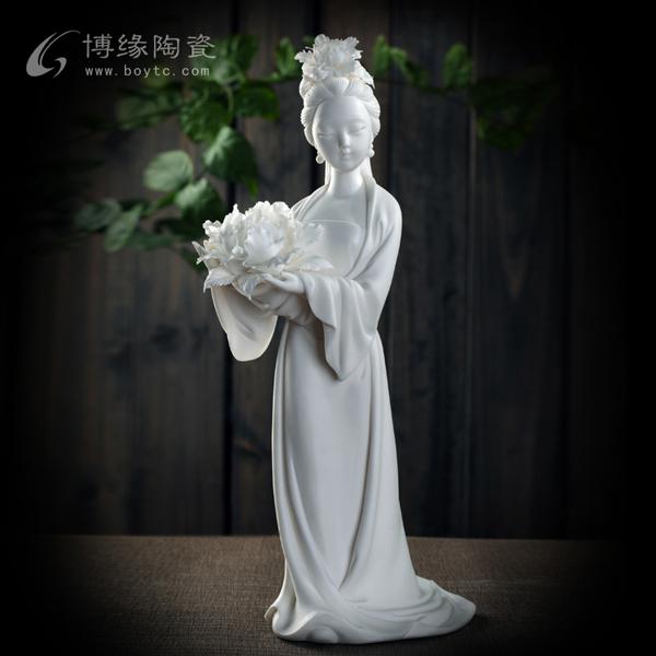 中国梦.幸福梦 德化陶瓷美女人物雕塑家居办公室送领导工艺摆件