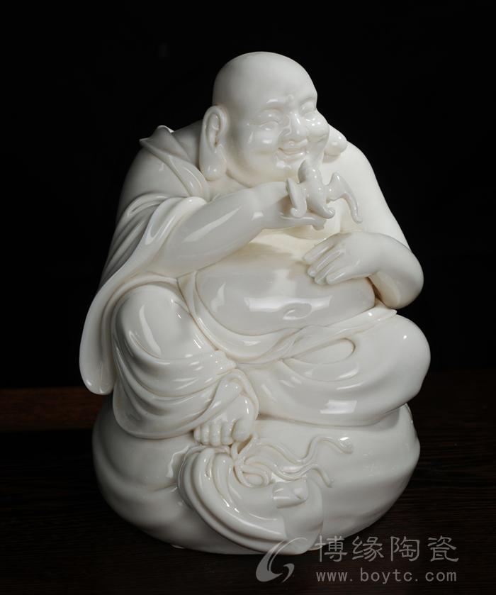 纳福弥勒 德化白瓷传统大肚弥勒佛人物雕像 家居办公招财摆件