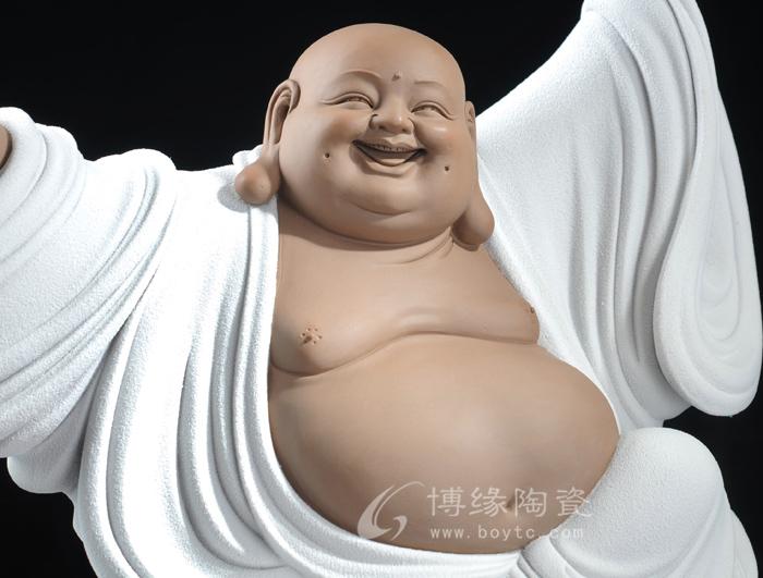 德化陶瓷弥勒佛笑佛 大号可爱喜庆顶天立地家居办公装饰工艺摆件 快乐
