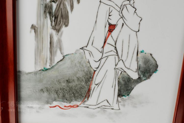 小坐蕉荫 景德镇大师手绘艺术瓷板画工艺摆件