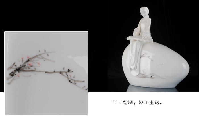 古典美女仕女摆件德化 陶瓷人物雕塑古琴 丝竹婉曲办公家居礼品